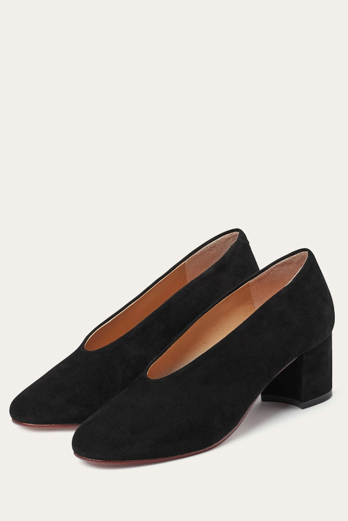 Leilot Natural Cow Leather Suede Heels Shoes in Black