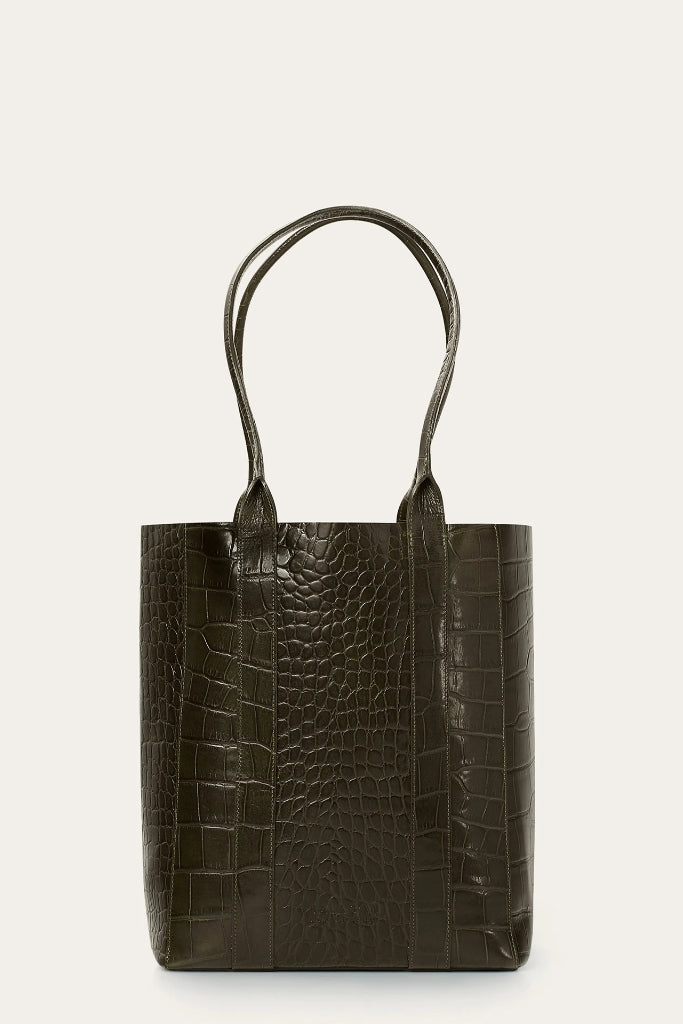 Sal Vertical Natural Cow Leather Tote Bag in Green Crocodile Pattern