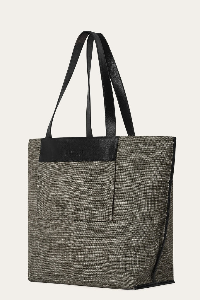 Kaitz Natural Linen & Leather Bag in Dark Gray