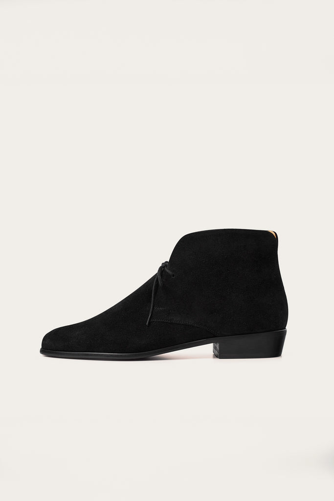Parizai Natural Cow Leather Suede Booties in Black