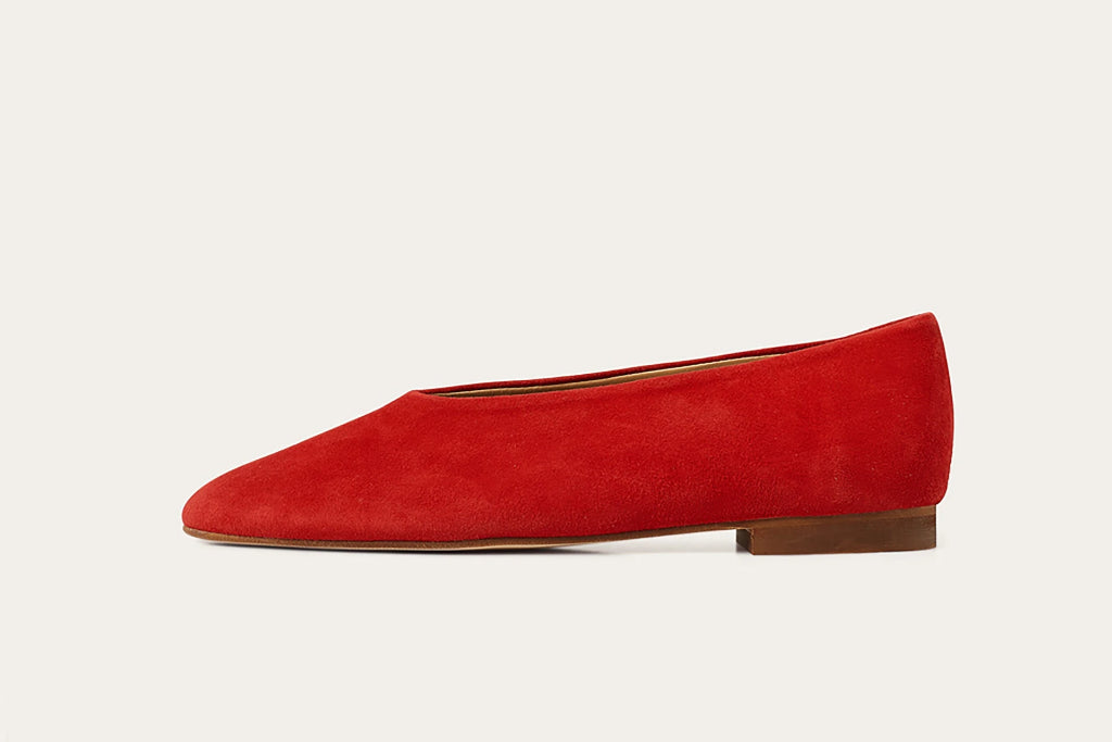 Opera Natural Cow Leather Shoes in Red Suede