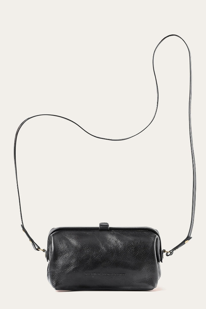 Rofe M Natural Cow Leather Clutch Bag in Black