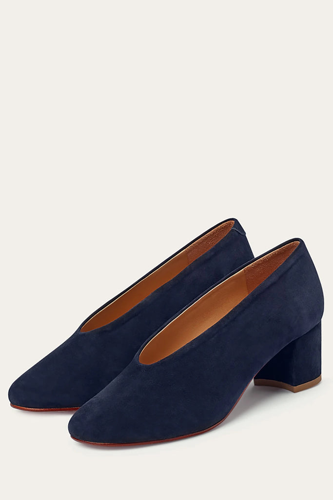 Leilot Natural Cow Leather Suede Heels Shoes in Navy