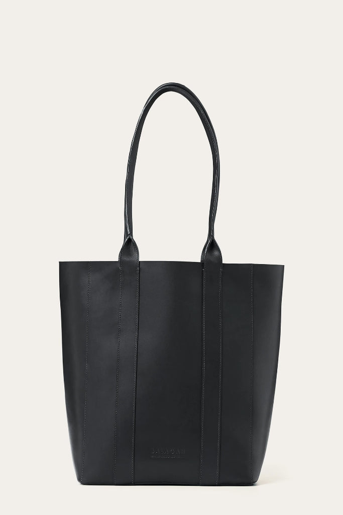 Sal Vertical Natural Cow Leather Tote Bag in Black