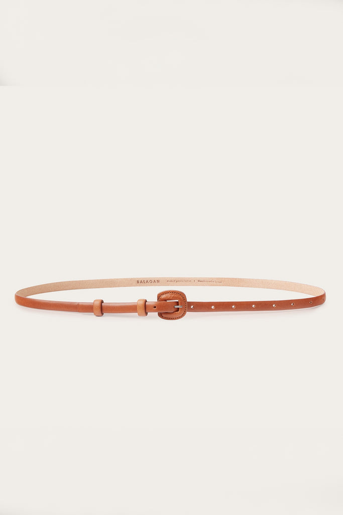 Coated Buckle Natural Cow Leather Thin Belt in Honey