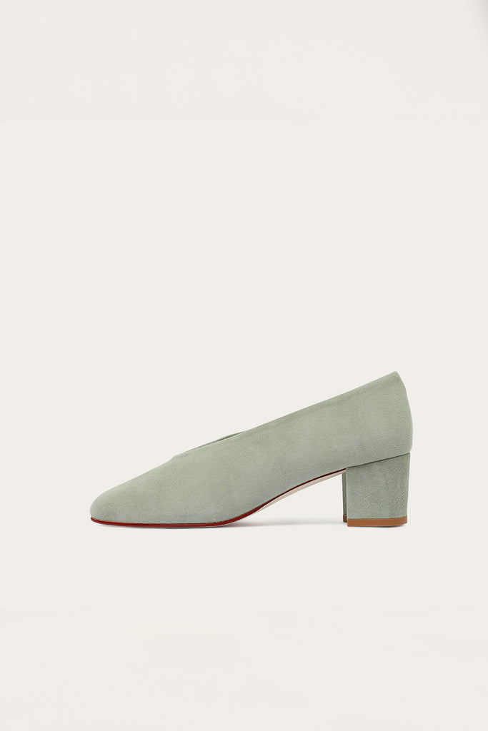 Leilot Natural Cow Leather Suede Heels Shoes in Green