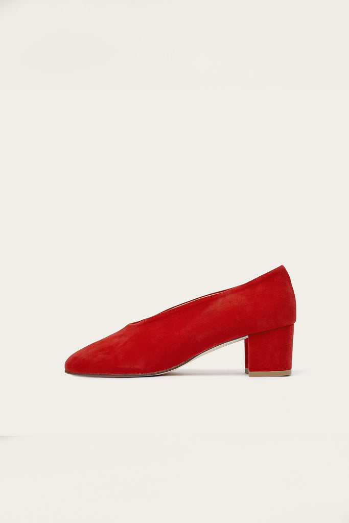 Leilot Natural Cow Leather Suede Heels Shoes in Red