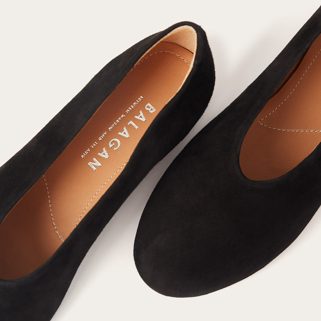 Opera Natural Cow Leather Shoes in Black Suede