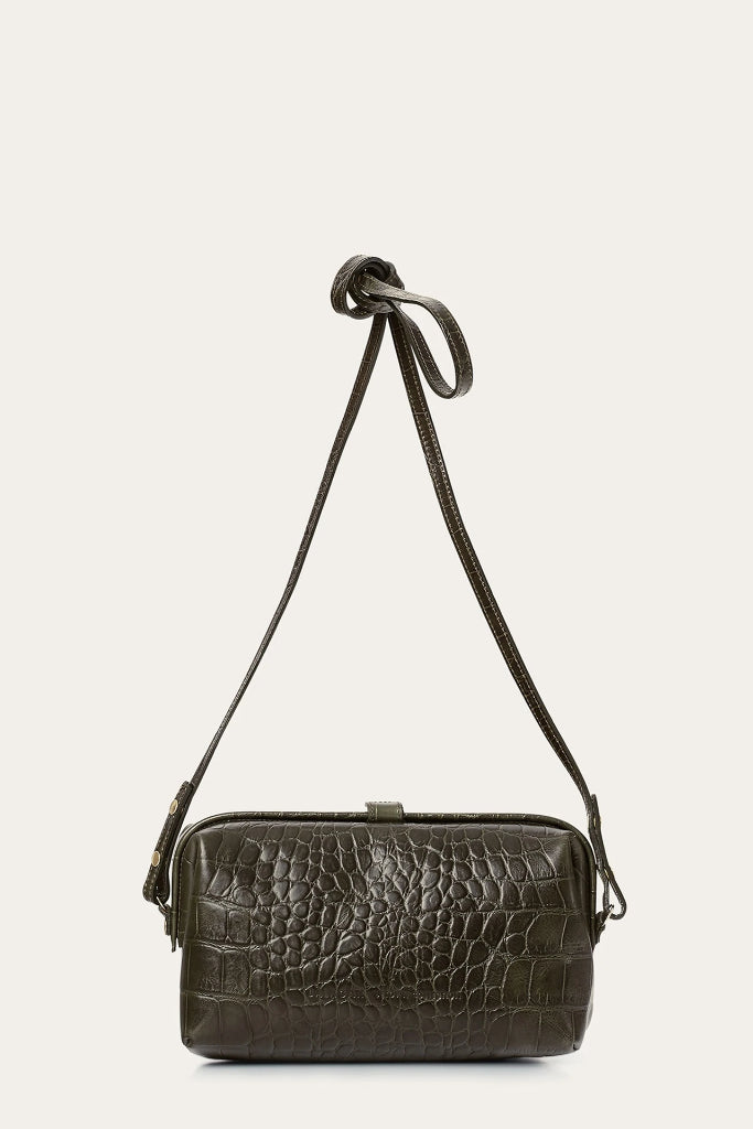 Rofe M Natural Cow Leather Clutch Bag in Green Crocodile Pattern