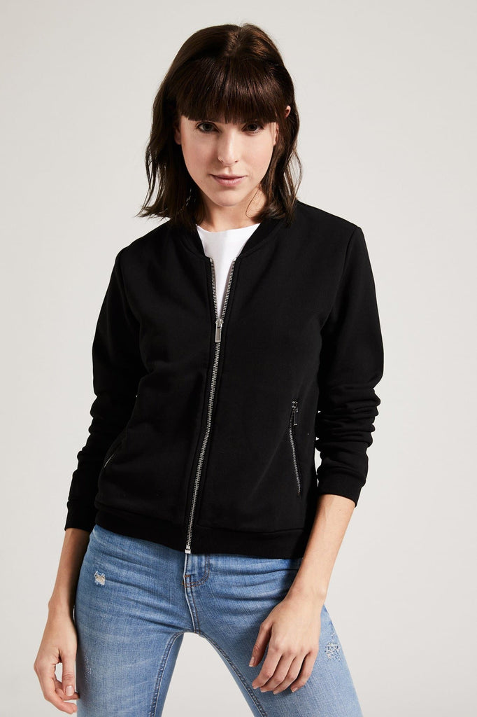 Organic Cotton Bomber Jacket in Black