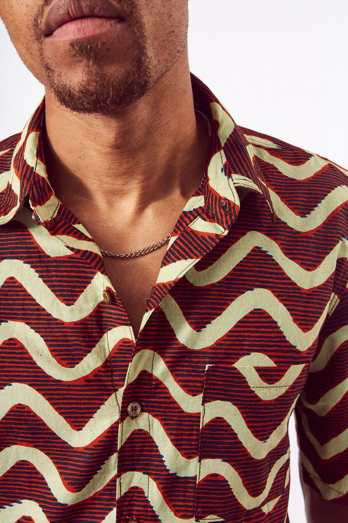 Sustainable Cotton Shirt in Red & Cream Print