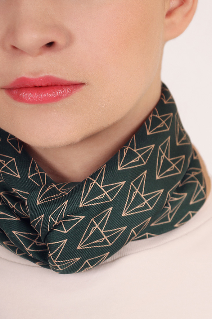 Dancing Foxes II Natural Silk Scarf in Green