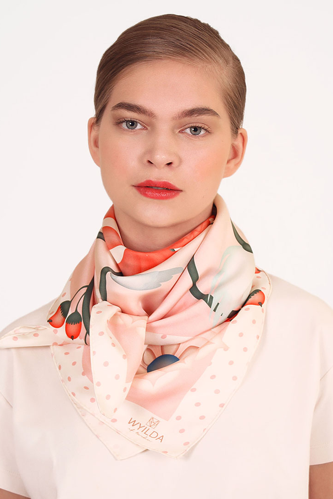 Spring Roar Natural Silk Scarf in Pink