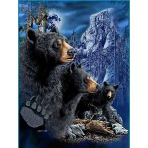 New Signature Collection Queen Size 3 Black Bears Mink Blanket