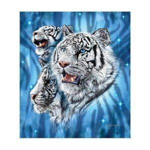 Gardner 9 White Tiger Mink Plush Blanket Queen Size - Signature Collection - (One Size 79 x 95)