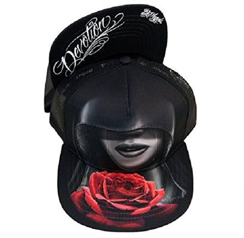 DGA Day of the Dead Rockabilly Art Sublimation Ladies Snapback Cap/Hat - Devotion Red Rose