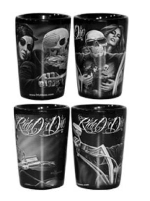 DGA Day of the Dead Rockabilly Skull Cantina/Bar Last Call Base Shot Glasses Set (2 Pack), 1.5oz