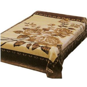 New Solaron Queen Size Flower Beige Korean Mink Blanket
