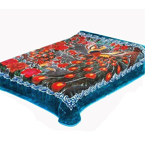 Solaron Peacock Queen Blanket, Blue by Solaron
