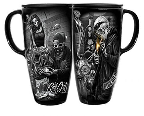 DGA Day of the Dead Rockabilly Skulls Motorcycle Ride or Die CoffeeTravel Cruzer Mug