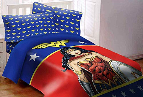 "JPI DC Comics Wonder Woman Figure Luxury 3pc Comforter Set Reversible Super Soft Twin Size 68"" X 86"""