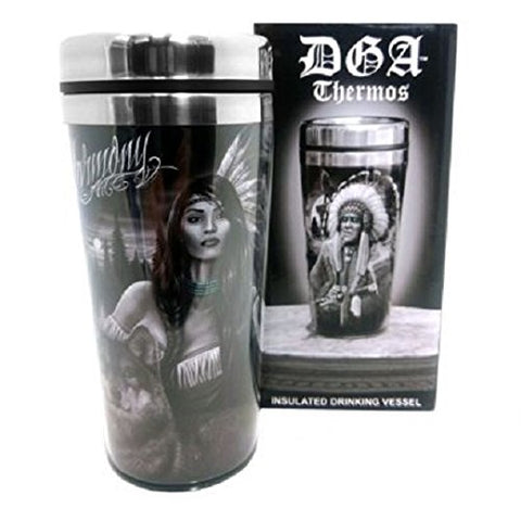 DGA Day of the Dead Native American Warrior and Princess Wolf Harmony Insulated Drinking Thermo 16 oz