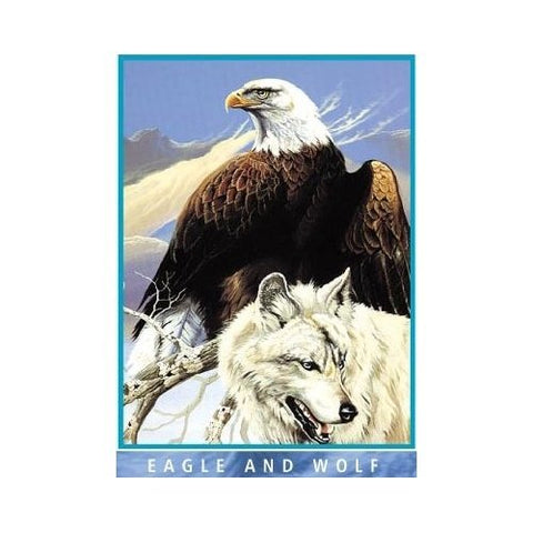 Eagle and Wolf Mink Plush Blanket Queen Size - Signature Collection