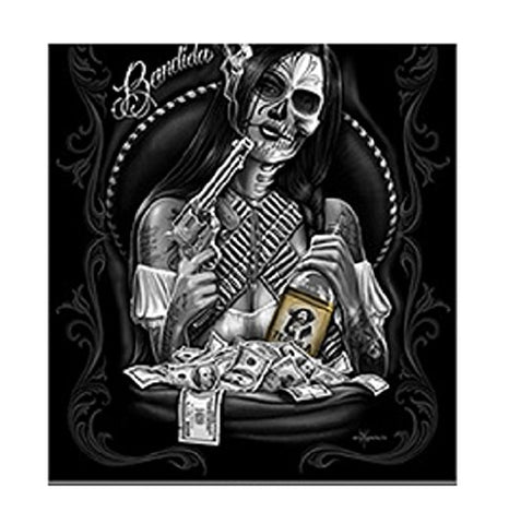 DGA Day of the Dead Outlaw Gunslinger Cowgirl Bandida Lightweight Queen Size Plush Blanket