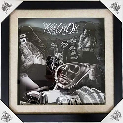 DGA Day of The Dead Shadow Box Wood Frame w/Plexiglass Canvas Wall Art - Ride or Die Motorcycle