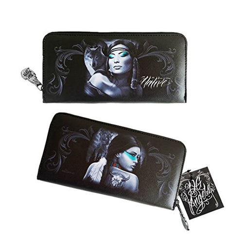 DGA Native Wolf Day of the Dead Spirit Harmony Womens Clutch Zippered Wallet