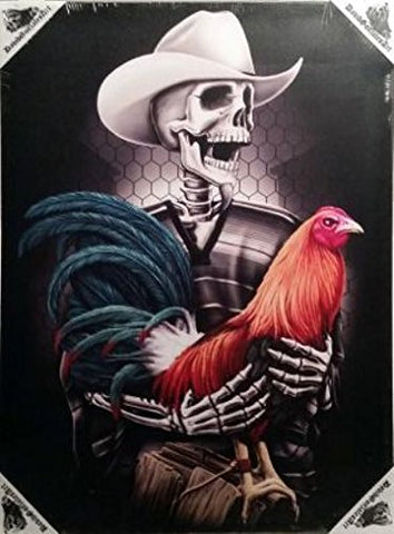 DGA Day of the Dead Stretched Canvas Wood Framed Wall Art 12x16 Inches - Gallero Rooster