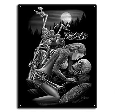DGA Day of the Dead Ride or Die Motorcycle Lovers Tin Metal Sign 12x16 Inches