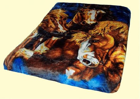 Artist Signature Collection Quality Queen Size Super Soft Mink Blanket - Horses / Blue Background