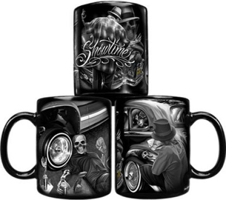 DGA Day of the Dead Rockabilly Skulls Lowrider Car Showtime Coffee Mug