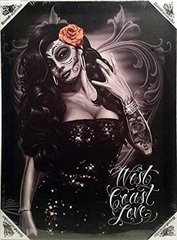 DGA Day of the Dead West Coast Love Stretched Canvas Wood Framed Wall Art 12x16 Inches - Westcoast