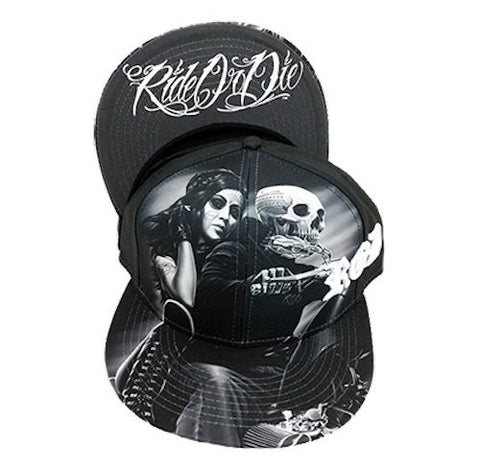 DGA Day of the Dead Ride or Die Motorcycle Art Sublimation Men's Snapback Cap/Hat - Biker Babe