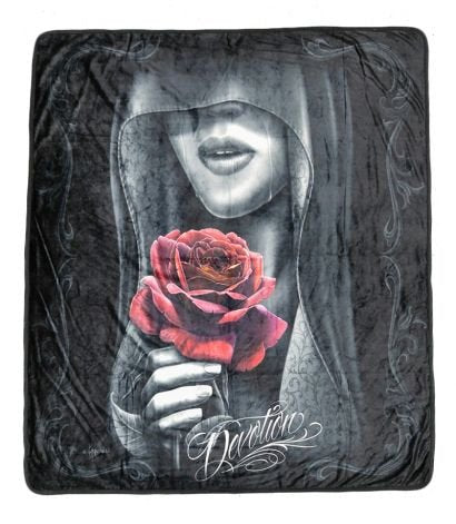 DGA Day of Dead High Definition Super Soft Plush Micro Fleece Blanket 50x60 Inches - Devotion Red Rose