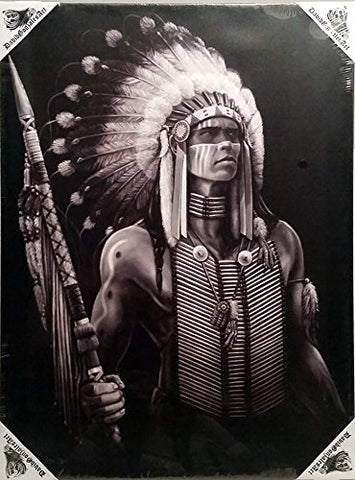 DGA Day of the Dead Native American Stretched Canvas Wood Framed Wall Art 12x16 Inches - Warrior