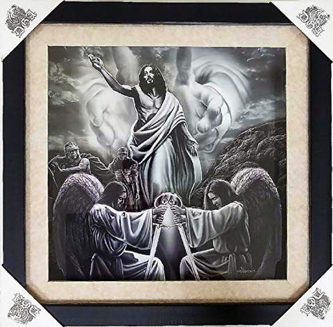 DGA Day of The Dead Shadow Box Wood Frame w/Plexiglass Canvas Wall Art - Resurrection of Christ Religious