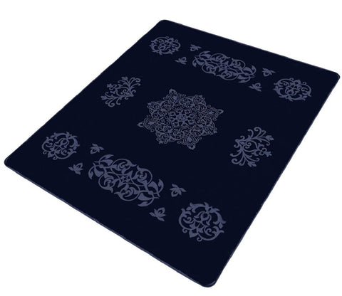 Solaron Collection Contemporary Embossed Quatrefoil Pattern Design Area Rug Navy Blue 6' x 8'