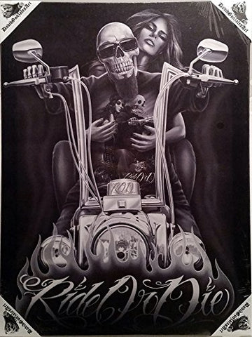 DGA Day of the Dead Rod Motorcycle Stretched Canvas Wood Framed Wall Art 12x16 Inches - My Old Lady