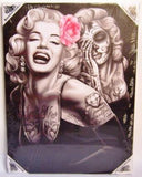 DGA Marilyn Monroe Day of the Dead Stretched Canvas Wood Framed Wall Art 12x16 Inches - Smile Now Cry Later