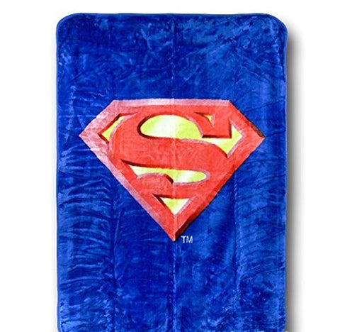 Superman Emblem Queen Size Plush Blanket w/ Area Rug - DC Comics