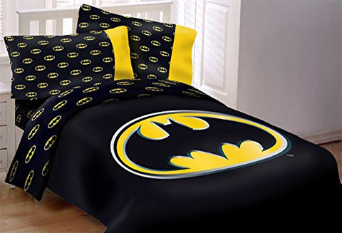 Batman Emblem 3 Piece Reversible Super Soft Luxury Queen Size Comforter Set W/ Area Rug