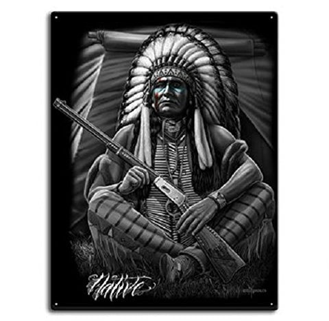 DGA Day of the Dead Native American Great Warrior Sign Tin Metal 12x16 Inches