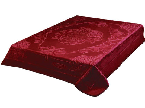Solaron Classic Burgundy Korean Thick Mink Plush Embossed Queen Size Blanket