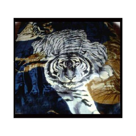 New Solaron Queen Size White Tiger Navy Korean Mink Blanket