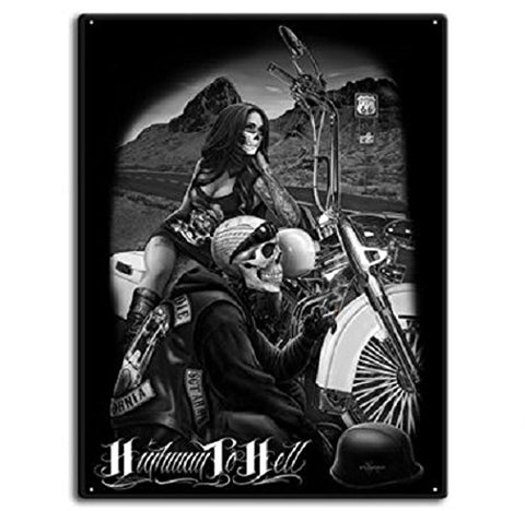 DGA Day of the Dead Ride or Die Motorcycle Highway to Hell Tin Metal Sign 12x16 Inches