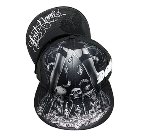 DGA Day of the Dead Lowrider Rockabilly Art Sublimation Men's Snapback Hat - Last Dance Skull