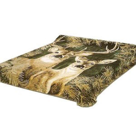 New Solaron Queen Size Deer Green Korean Mink Blanket